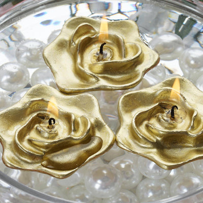 Gold Floating Rose Candle-4/pk