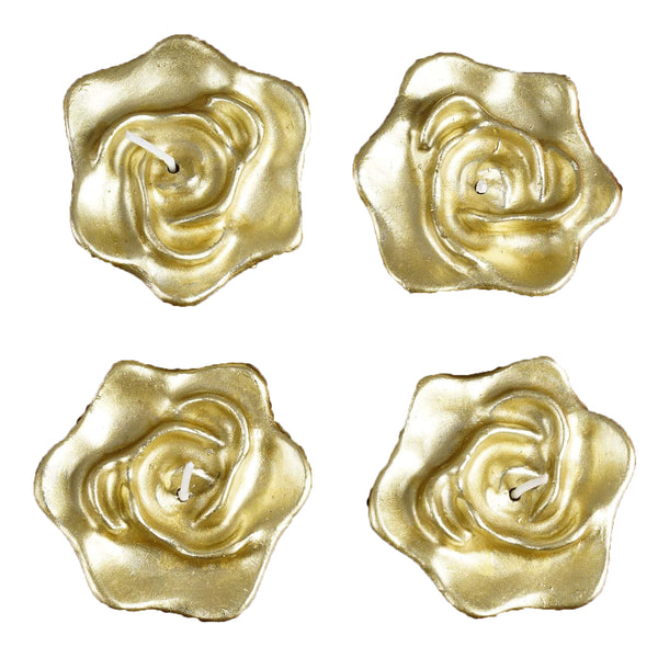 Shinny Floating Centerpiece: Rose Floating Candles - Gold - 4pcs
