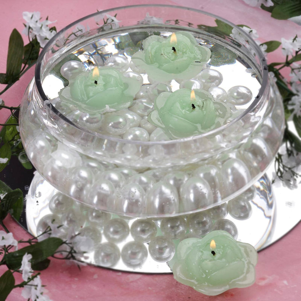 Lt. Green Floating Rose Candle-4pk