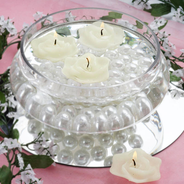 Pack of 4 - Ivory Rose Flower Floating Candles