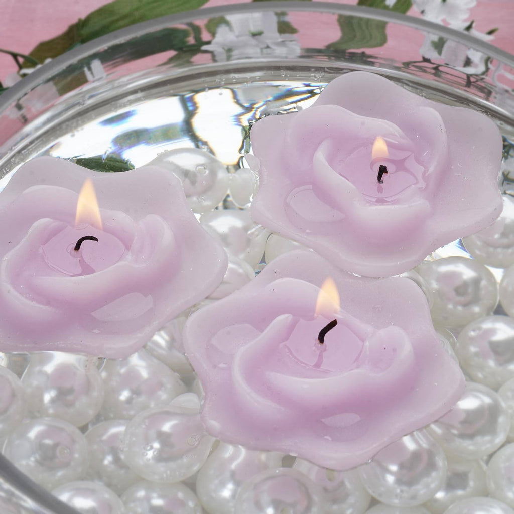Lavender Floating Rose Candle-4/pk