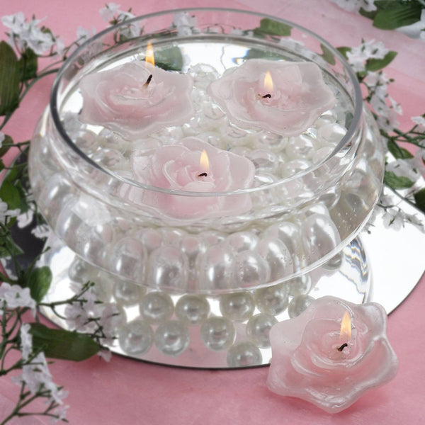 Pack of 4 - Pink Rose Flower Floating Candles