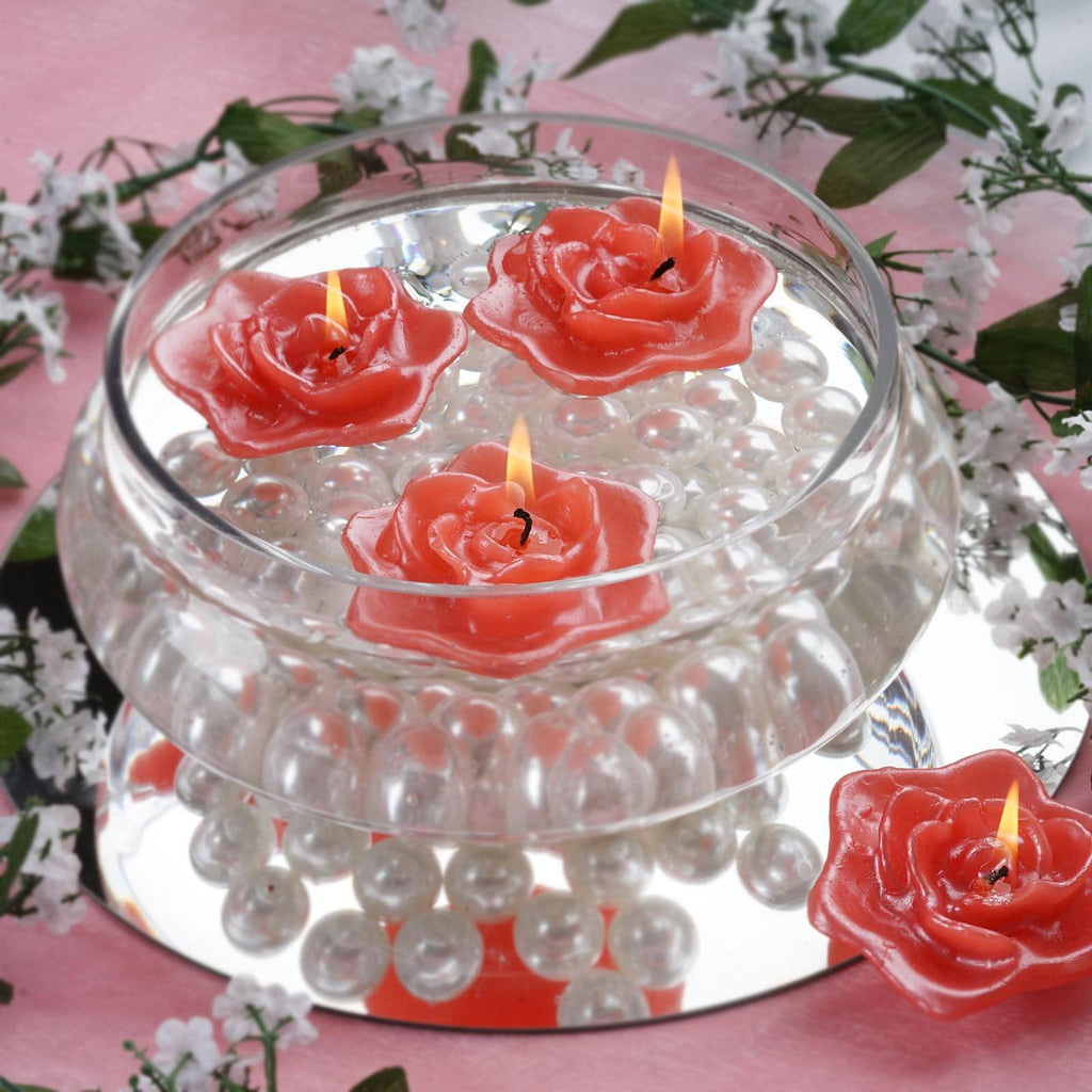 Red Floating Rose Candle-4pk