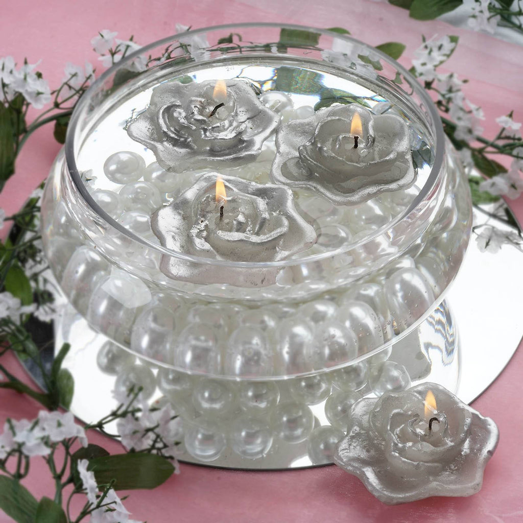 Silver Floating Rose Candle-4/pk