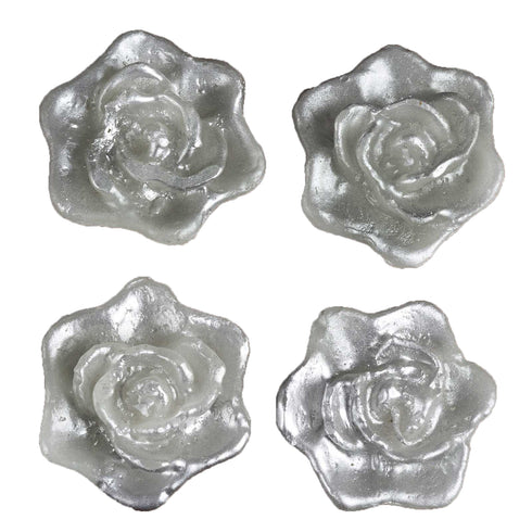 Rose Floating Candles  - Silver - 4pcs