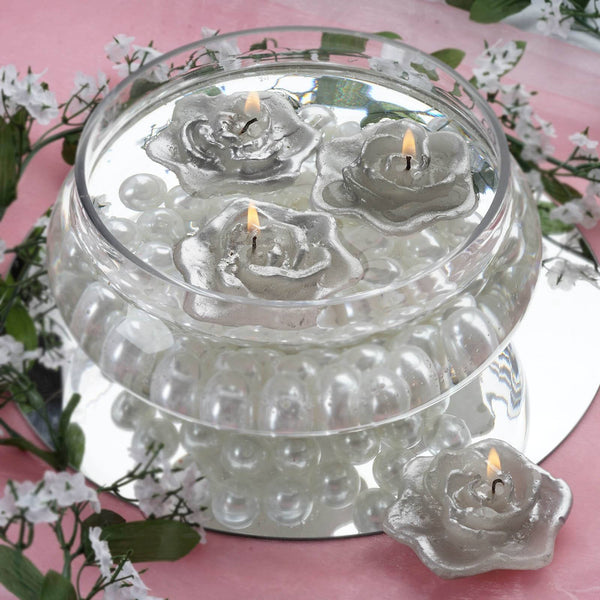 Pack of 4 - Silver Rose Flower Floating Candles