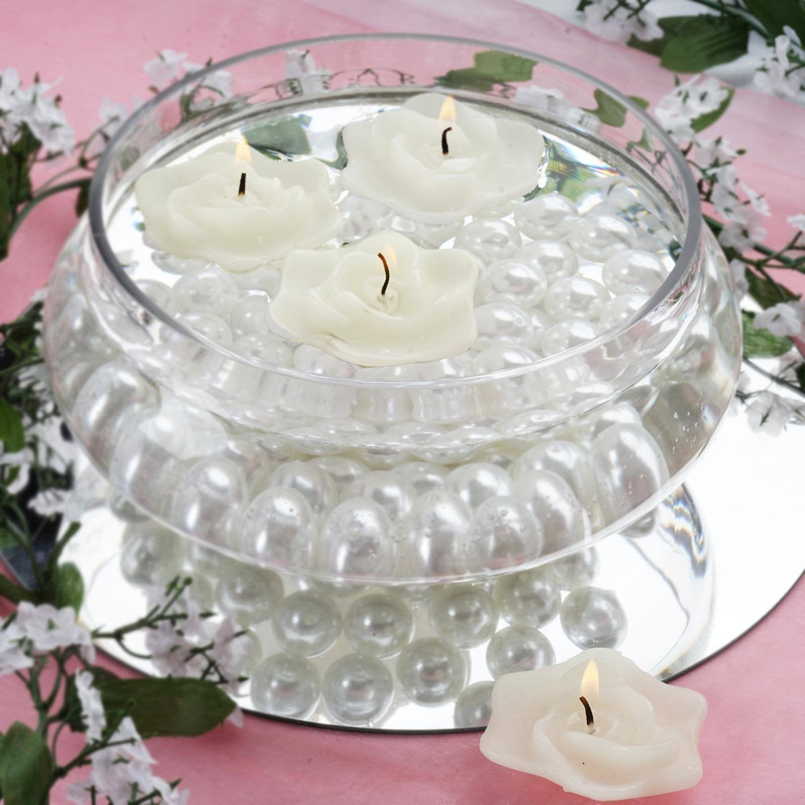 Rose Floating Candles - White - 4pcs | eFavorMart