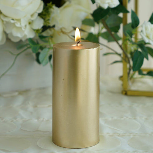 "6"" Gold Dripless Unscented Pillar Candle - Long Lasting Candle"