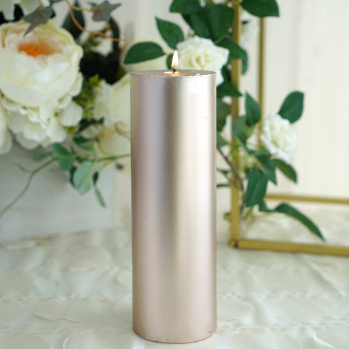 "9"" Rose Gold Dripless Unscented Pillar Candle - Long Lasting Candle"