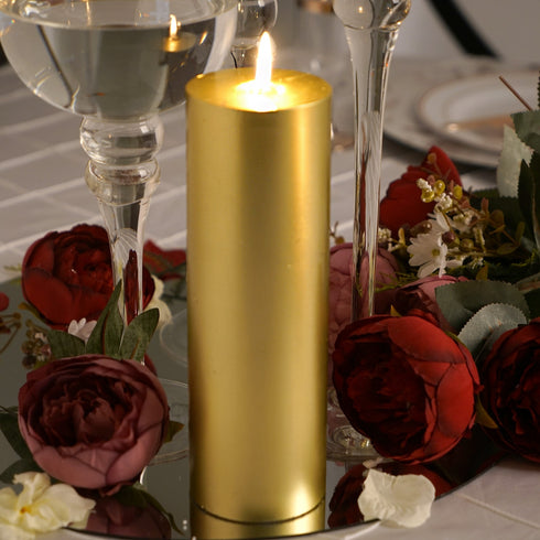 "9"" Gold Dripless Unscented Pillar Candle - Long Lasting Candle"