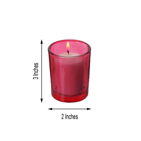 Pack of 12 - White Votive Candles with Red Votive Holder Set