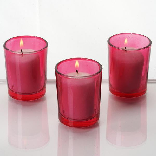 Red Votive Candle Tea Light Holders & White Candles Wedding Spa Party Venue Decor - 12/pk