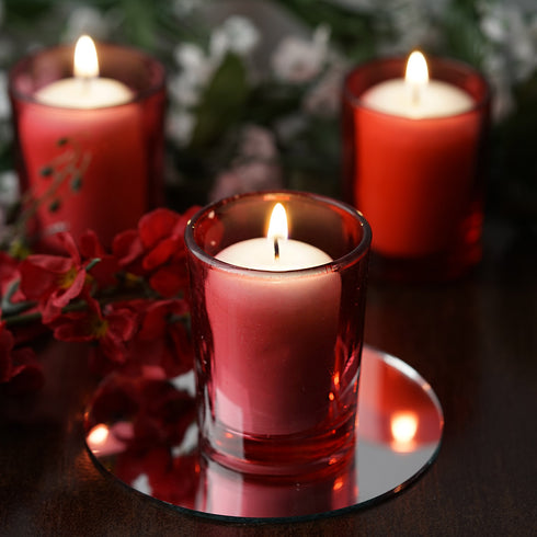 12 Pack White Votive Candles with Red Votive Holders