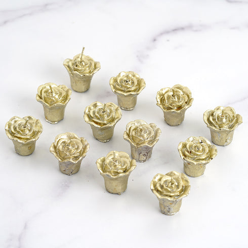 12 PCS Gold Rose Mini Floating Candles Wedding Birthday Party Centerpiece Decor