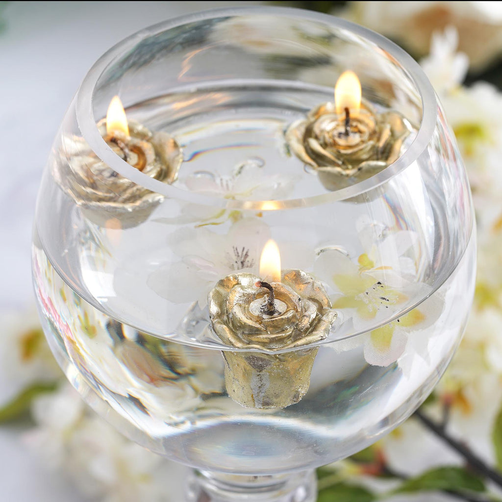 12 Pack 1 Gold Mini Rose Flower Floating Candles Efavormart