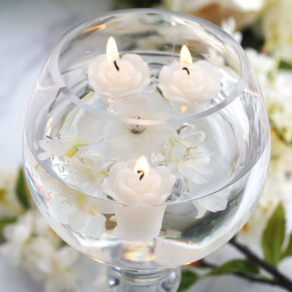 Mini Floating Rose Candle Ivory-12/pk