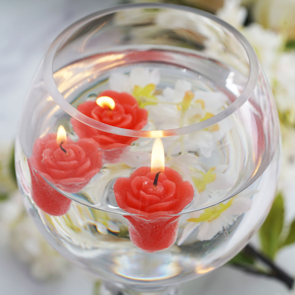 Shinny Floating Centerpiece: Mini Floating Rose Candle Red - 12/pk