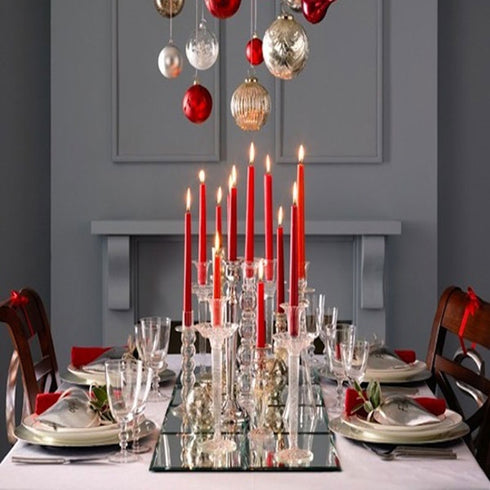 "10"" Premium Dripless Unscented Taper Chandelier Candles Party Decor - 12pcs - Red"