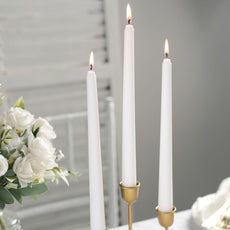 "10"" Premium Dripless Unscented White Taper Chandelier Candles Wedding Party Decor - 12 Pcs"
