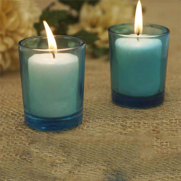 Pack of 12 - White Votive Candles with Turquoise Votive Holder Set