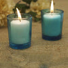 12 Pack White Votive Candles with Turquoise Votive Holders