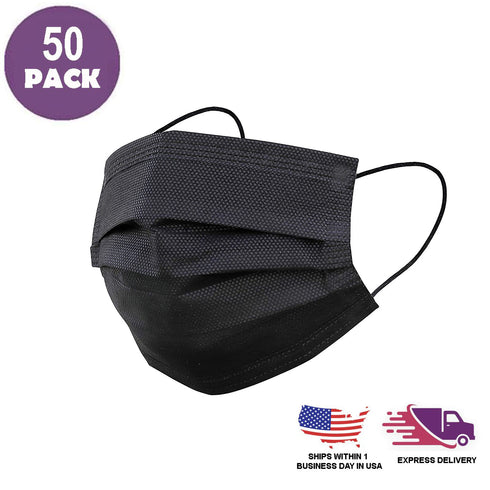 Pack of 50 - 3 Ply Black Disposable Face Mask Non Woven Mask with Ear Loop