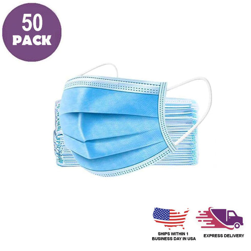 Pack of 50 - 3 Ply Disposable Face Mask Non Woven Mask with Ear Loop