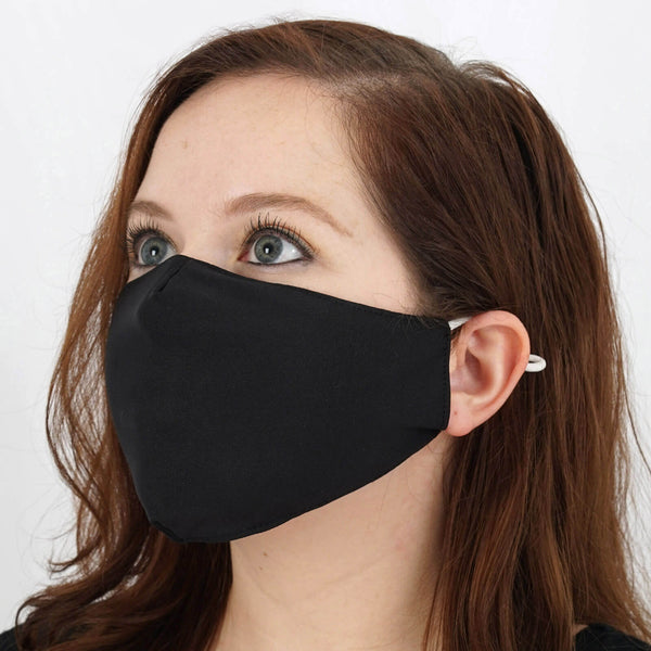 5 Pack - 2 Ply Black Ultra Soft Cotton Organic Face Mask, Fabric Face Mask Washable With Soft Ear Loops
