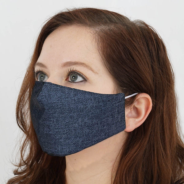 5 Pack - 2 Ply Blue Denim Ultra Soft Cotton Organic Face Mask, Fabric Face Mask Washable With Soft Ear Loops