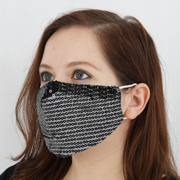 5 Pack - Black Sequined Cotton Fashion Face Mask, Reusable Washable Face Mask With Ear Loops