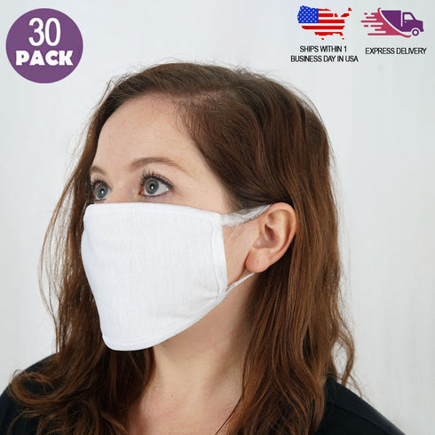 30 Pack - 3 Ply White Cotton Face Mask, Washable Fabric Face Masks With Soft Ear Loops