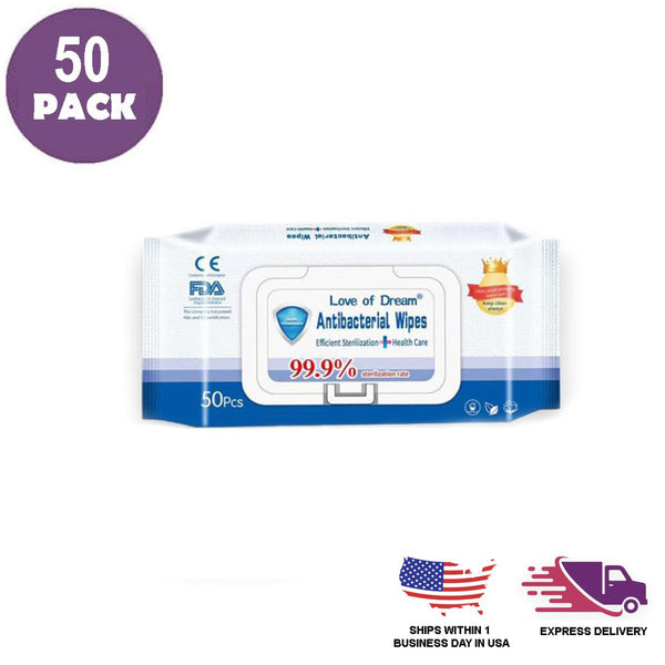 Pack of 50 - Alcohol Free Hand & Face Cleansing Wipes - Antibacterial Wet Wipes