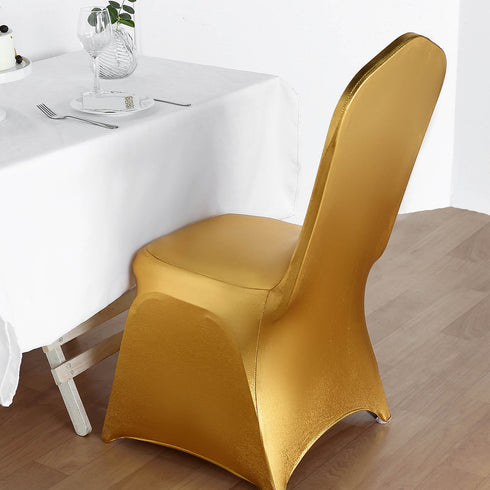 Lam'e Spandex Banquet Chair Cover - Metallic Gold