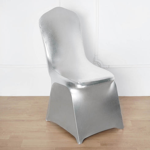Metallic Silver Glittering Shiny Premium Spandex Banquet Chair Cover