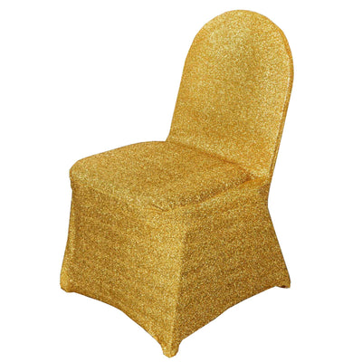 Metallic Glittering Gold Shiny Spandex Banquet Chair Cover Party Event