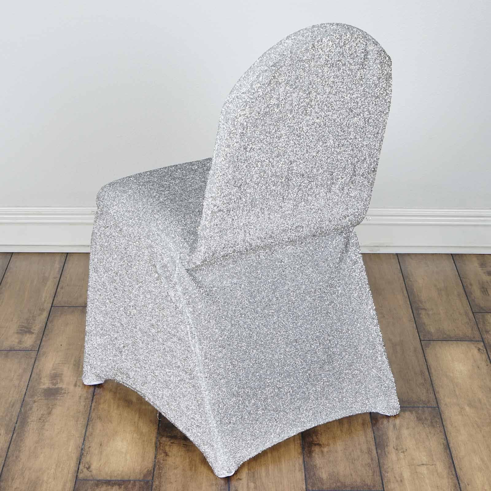 Metallic Glittering Silver Shiny Spandex Banquet Chair Cover Party