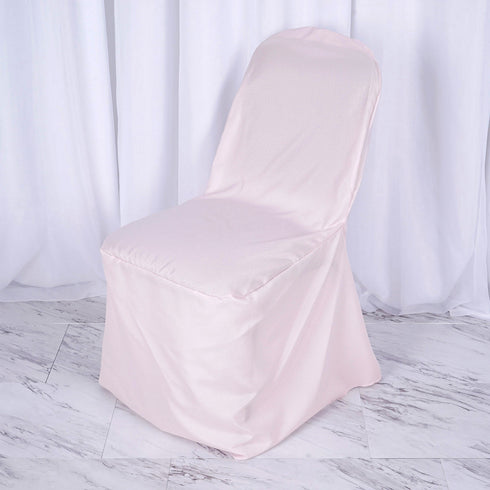 Blush Polyester Banquet Chair Covers