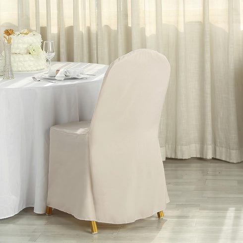 Beige Polyester Banquet Chair Covers