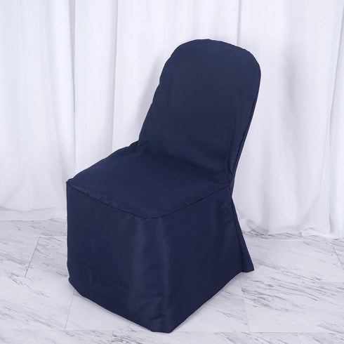 Navy Polyester Banquet Chair Covers