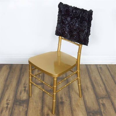 Wonderland Rosette Square-Top Chair Caps Black