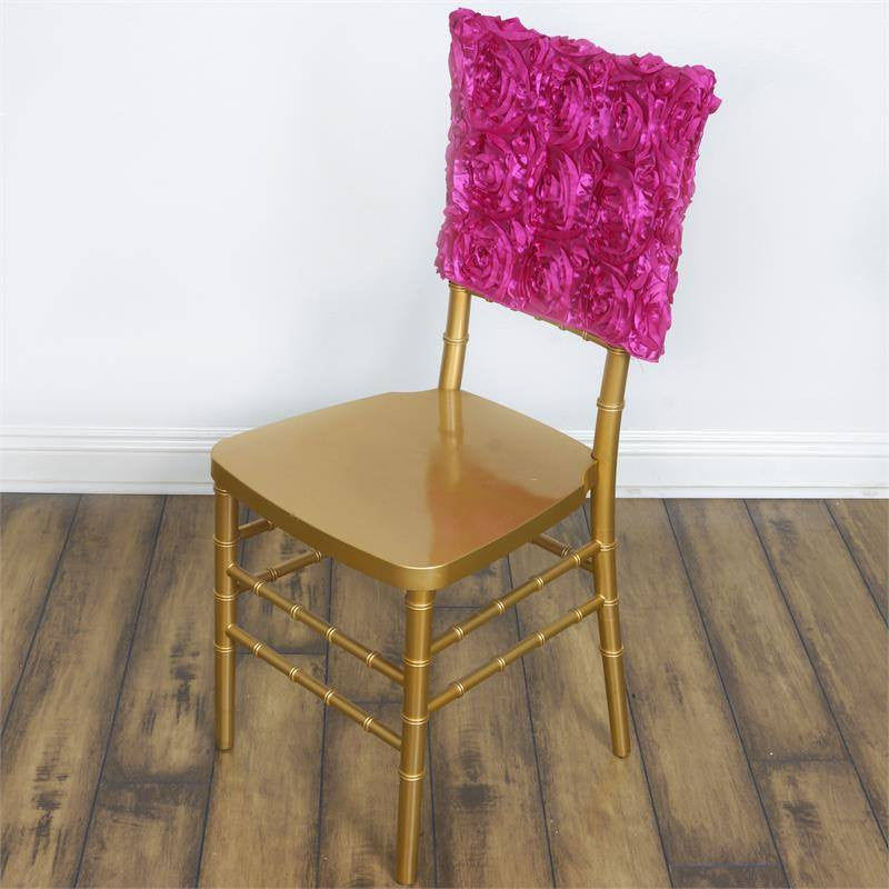 Wonderland Rosette Square-Top Chair Caps Fushia