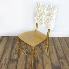 Wonderland Rosette Square-Top Chair Caps Ivory