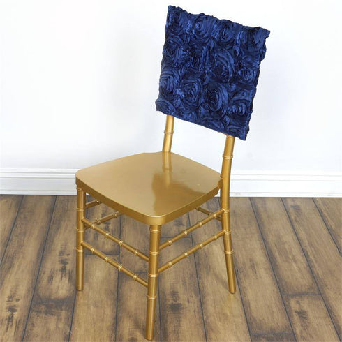 Wonderland Rosette Square-Top Chair Caps Navy Blue