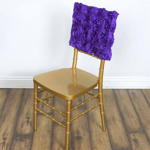 Wonderland Rosette Square-Top Chair Caps Purple