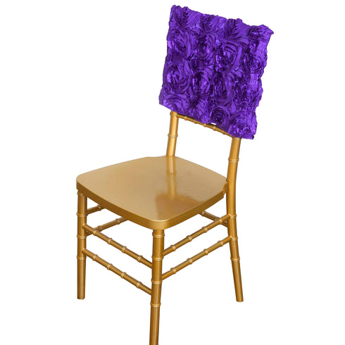 "16"" Purple Rosette Chiavari Chair Caps Cover For Catering Wedding Party Decorations"