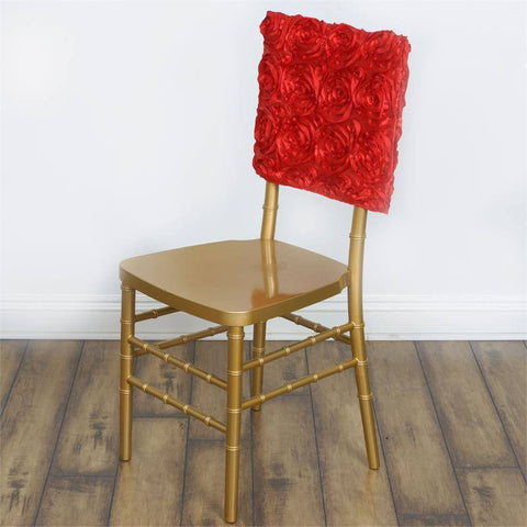 Wonderland Rosette Square-Top Chair Caps Red
