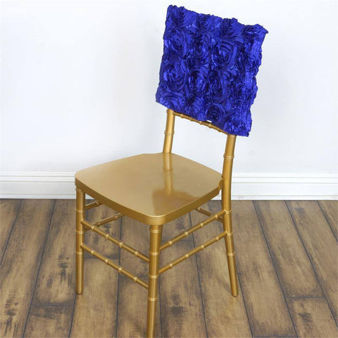 Wonderland Rosette Square-Top Chair Caps Royal Blue