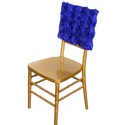 "16"" Royal Blue Rosette Chiavari Chair Caps Cover"