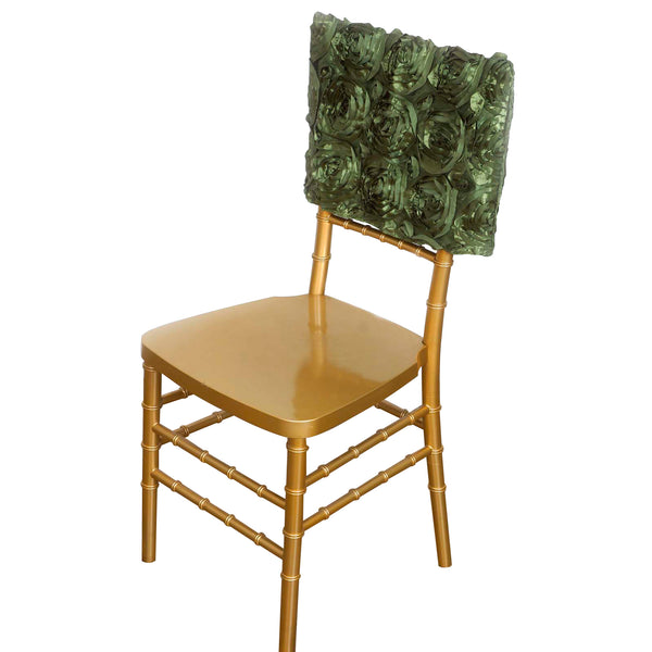 "16"" Moss Green Rosette Chiavari Chair Caps Cover"