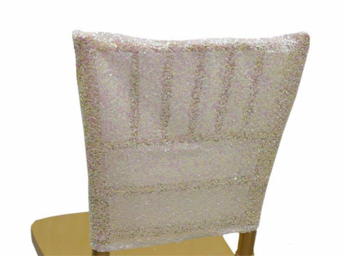 "16"" x 14"" White Premium Sequin Chiavari Chair Back Cover"